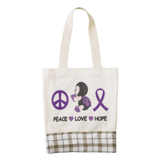 Ladybug Peace Love Hope Purple Awareness Ribbon Zazzle HEART Tote Bag