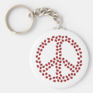 Ladybug Peace Symbol Keychain