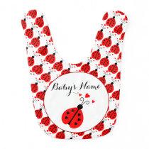 Ladybug Personalized Baby Bib