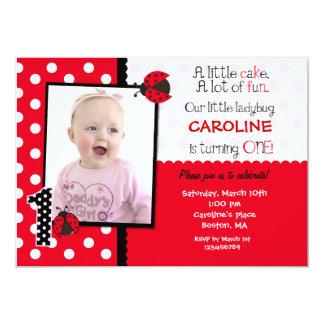 "Ladybug Photo 1st Birthday Party Invitation 5"" X 7"" Invitation Card"