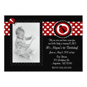 Ladybug Photo Birthday Inviation 5x7 Paper Invitation Card