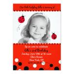 Ladybug Photo Birthday Party Invitations