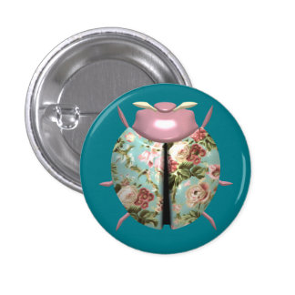 Ladybug - Pink Flowers / Light Blue Background Pinback Button