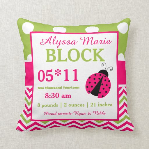 Ladybug Pink Green Baby Announcement Pillow