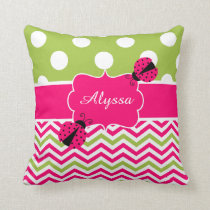 Ladybug Pink Green Personalized Pillow