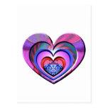 LadyBug Pink Heart Postcard