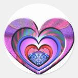 LadyBug Pink Heart Round Stickers