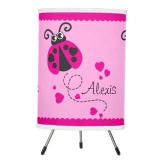 Ladybug pink personalized kids lamp