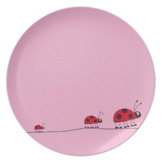 ladybug pink plate