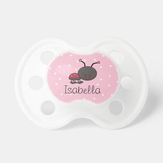 Ladybug Pink Polka Dot Personalized Pacifier