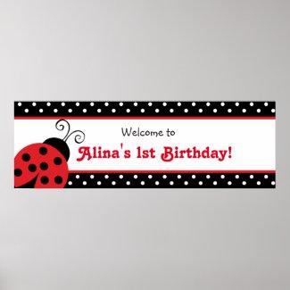 Ladybug Polka Dot Custom Birthday Party Banner Poster