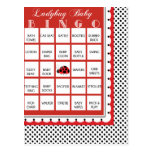 Ladybug Polkadots Baby Shower Bingo Card 14 Post Cards