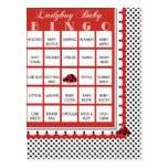 Ladybug Polkadots Baby Shower Bingo Card 1 Post Cards