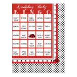 Ladybug Polkadots Baby Shower Bingo Card 4 Postcard