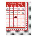 Ladybug Polkadots Baby Shower Bingo Card 9 Postcard