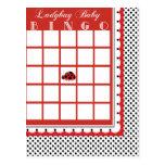 Ladybug Polkadots Baby Shower Bingo Card Blank