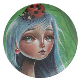 LadyBug Pop Surrealism Illustration Melamine Plate