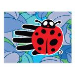 Hand shaped Ladybug postcard
