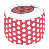 Ladybug Pouf Round Pouf