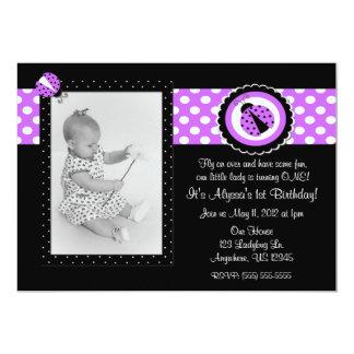 Ladybug Purple Photo Birthday Inviation Card
