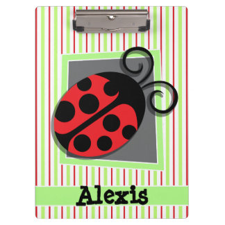 Ladybug; Red and Lime Green Stripes Clipboard