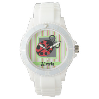 Ladybug; Red and Lime Green Stripes Wristwatches