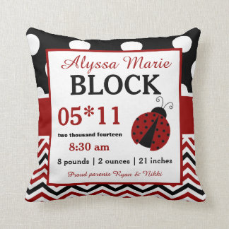 Ladybug Red Black Baby Announcement Pillow