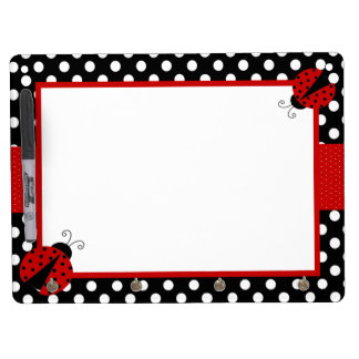 Ladybug Red Black Dot Dry Erase Board