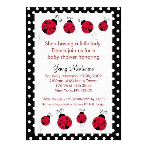 Ladybug Red Black Dots Baby Shower Invitation