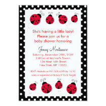 Ladybug Red Black Dots Baby Shower Invitation