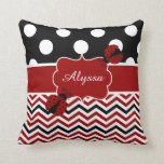 Ladybug Red Black Personalized Pillow
