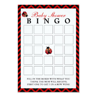 Ladybug Red Chevron Baby Shower Bingo Cards