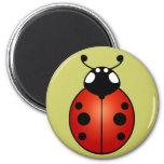 Ladybug Red Orange Black Spots Ladybird Beetle 2 Inch Round Magnet