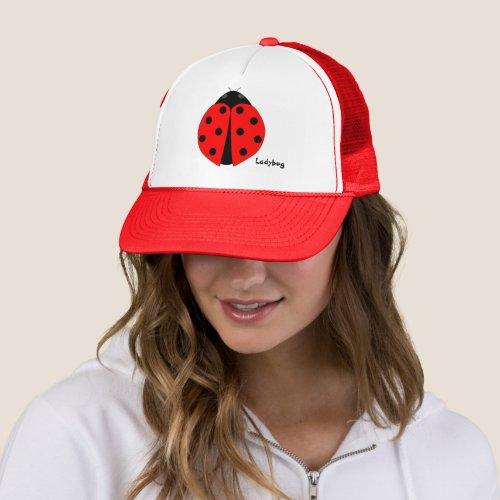 Ladybug Red  White Custom Hat Cap
