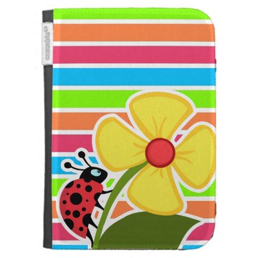 Ladybug; Retro Neon Rainbow Cases For Kindle