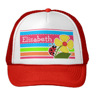 Ladybug; Retro Neon Rainbow Trucker Hat