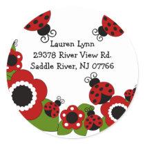 Ladybug Return Address Birthday Sticker