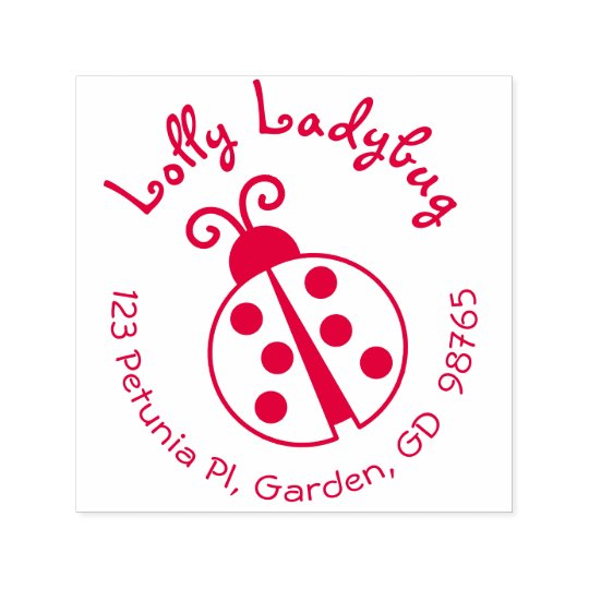 Ladybug Return Address Stamp Round Self Inking