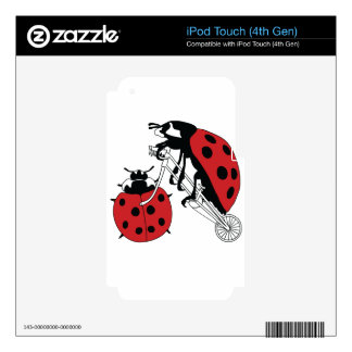Ladybug Riding Bike With Ladybug Wheel iPod Touch 4G Decal