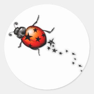Ladybug Rockstar Round Stickers