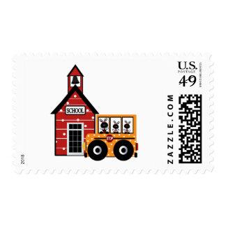 Ladybug School and School Bus Tshirts and Gifts Postage Stamp