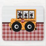 Ladybug Schoolbus Plaid Mouse Pad