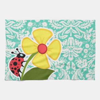Ladybug; Seafoam Green Damask Kitchen Towels