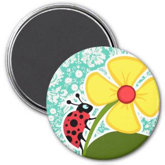 Ladybug; Seafoam Green Damask Refrigerator Magnet