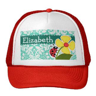 Ladybug; Seafoam Green Damask Trucker Hat