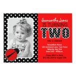 Ladybug Second Birthday Party 4.5x6.25 Paper Invitation Card