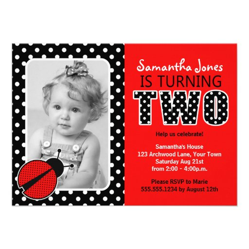 Ladybug Second Birthday Party Personalized Invite