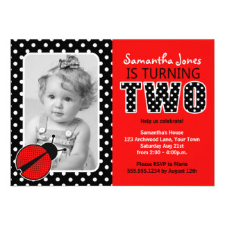 Ladybug Second Birthday Party Personalized Invite