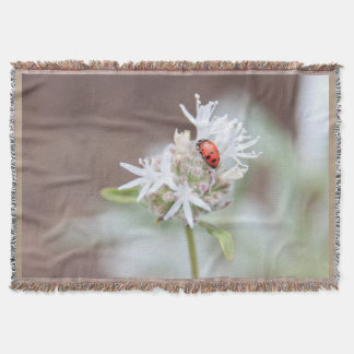 Ladybug Silverleaf Phacelia Flowers Throw Blanket