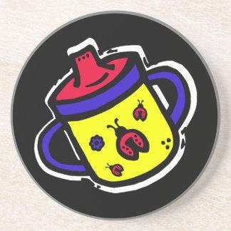 ladybug sippy cup sandstone coaster